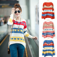 Korean Fashion Womens Lady Grils love Hollow Knit Loose overpull Sweater Top