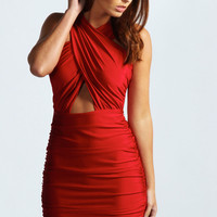 Kristen Crossover Front Cut Out Waist Bodycon Dress