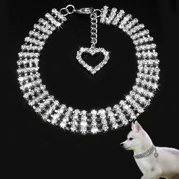 S/M/L Bling Rhinestone Dog Collars Puppy Necklace with Heart Charm Cute for Small Dogs