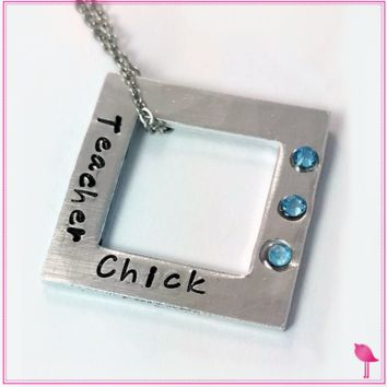 Teacher Chick Hand Stamped Bling Chicks Necklace