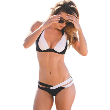 Women Sexy Chic Spaghetti Strap Color Block Criss Cross Bikini Set Halter Push Up Swimwear Strap Swimsuit Bathing Suits