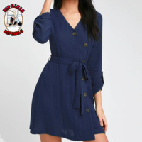 New fashion solid color long sleeve dress women Navy blue