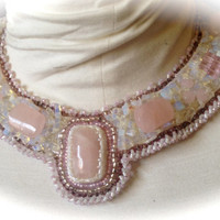 Bead Embroidered Collar -Pink Quartz