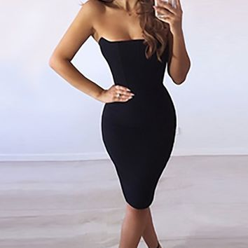 Anything I Want Black Strapless V Neck Bodycon Mini Dress