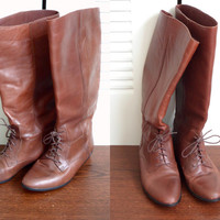Marc Alpert Size 8 Brown Leather Lace Up Tall Riding Boots
