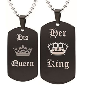 His Queen & Her King Couple Pendant Necklace Stainless Steel Crown Crystal Matching Set
