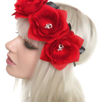 Day Of The Dead Red Rose Headband | Hot Topic
