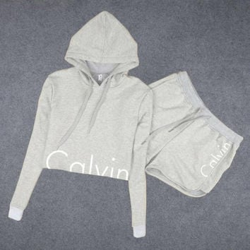 """Calvin Klein"" Hoodie Long-Sleeved Two-Piece Shorts"