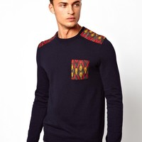 ASOS Jumper With Geo-Tribal Patches - Navy