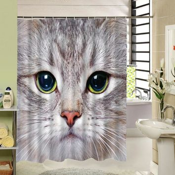 Cool Cat Face Shower Curtain