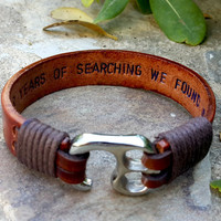 Personalized Mens Leather Bracelet Hidden Message Men's Jewelry Men Gift Custom Quote Statement Birthday Graduation Son Brother Husband Gift