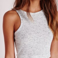 Missguided - Knitted Rib Racer Crop Top Grey