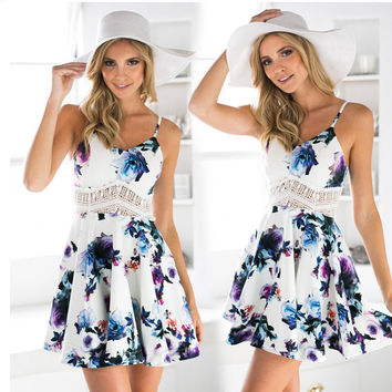 White Floral Print Cut Out Spaghetti Strap Skater Dress