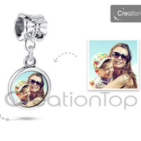 SALE Personalized charm for any Pandora bracelet Memory charm bead with your own design