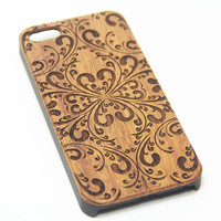 Elegant Damask Floral Wood Engraved iPhone 6s Case iPhone 6 Case iPhone 6s 6 Plus Cover Natural Wooden iPhone 5s 5 Case Samsung Galaxy S6 S5 Case D118