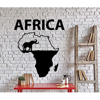 Wall Vinyl Decal Africa Elephant Jungle Wild Animals Home Decor Unique Gift z4316