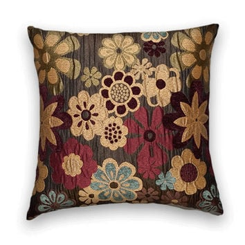 Decorative pillow Cover--20 x 20-- Floral Throw Pillow--Brown, Red, Gold, Blue Accent Pillow.