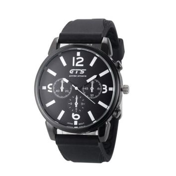 Men's Luxury Black Stainless Steel Analog Quartz Sport Wrist Watch