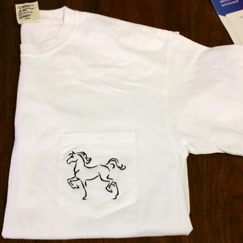 Short Sleeve Embroidered Horse Pocket Tee