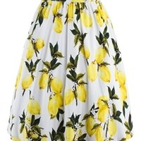 Lemon Printing Knee-Length Pleated Women's Skirt - m.tbdress.com