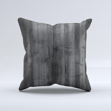 Dark Black WoodGrain Ink-Fuzed Decorative Throw Pillow