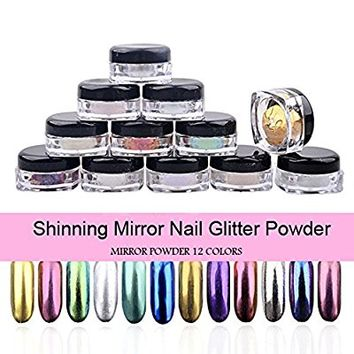 PrettyDiva 12pcs/set Mirror Nail Powder Chrome Nail Pigment Shining Metallic Nails