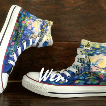 WEN Original Design Classical Painting Lotus Converse Lotus Shoes Hand Painted Shoes,Converse All Star Lotus Art Birthday Gifts Christmas