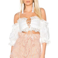 For Love & Lemons Anabelle Eyelet Crop Top in White | REVOLVE