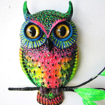 Owl art wall sculpture
