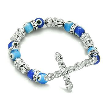 Amulet Evil Eye Protection Silver Tone Cross Charm Spiritual Bracelet Swarovski Elements Beads