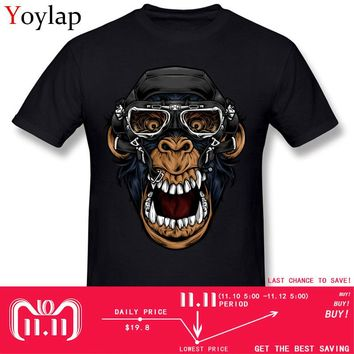 Summer Stylish Funny Men's Cotton T Shirt Pilot Monkey Tshirt Gas Mask O Neck Tops Tees Unique Hipster Homme T-shirt