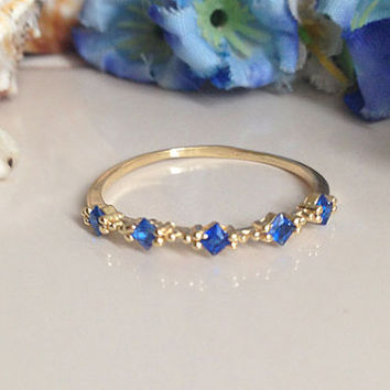 20% off- SALE!! Sapphire Ring - Tiny Ring - Slim Stack Ring - Dainty Ring - Prong Set  Ring - Square Stones Ring - Royal Blue Ring