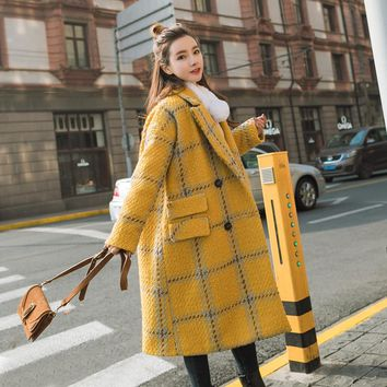 Autumn Winter Women's Wool Blend Tweed Coat Girls Plaid Vintage Yellow Long Cashmere Cocoon Coat Loose Jacket Female Overcoat