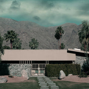 Mid Century Architecture Photography  Stormy Landscape with Mid Century House