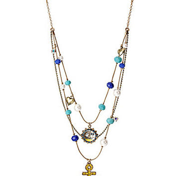 Betsey Johnson Anchor & Mixed Bead Illusion Necklace - Gold/Multi