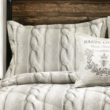 Cozy Cable Sweater Knit Comforter Bedding SET