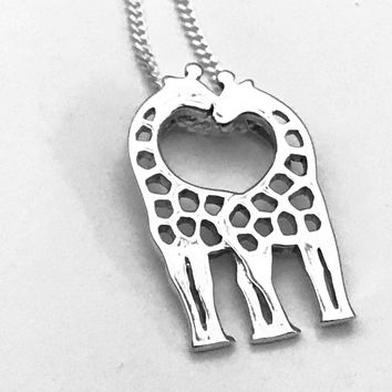 Giraffe Necklace, Heart Necklace, Sterling Silver Giraffe, Kissing Necklace, Kissing Giraffes, Gifts for Her, Couples Necklace