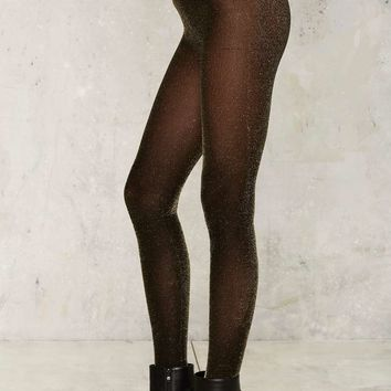 Walk in the Spark Lurex Tights - Gold
