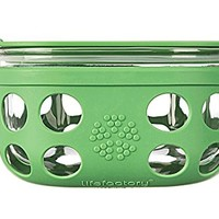 Lifefactory 4-Cup BPA-Free Glass Food Storage & Bakeware with Protective Silicone Sleeve & Lid, Grass Green