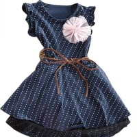 Baby Girls Kid Toddler Princess Floral Summer Party Dresses Dot Dress Skirt Belt