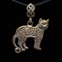 Celtic Cat Pendant, brass, handmade ..... Celtic Knot, Celtic Jewelry, Ethnic Cat, Celtic Pendant