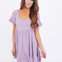 Ruffle Scoop Neck Dress- Lilac