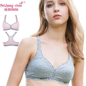 HotSale 2pcs/lot Feichangzimei Sport Underwear Cotton Character B Cup Bra For Girls Or Women For Yoga,Sports and Running -100702