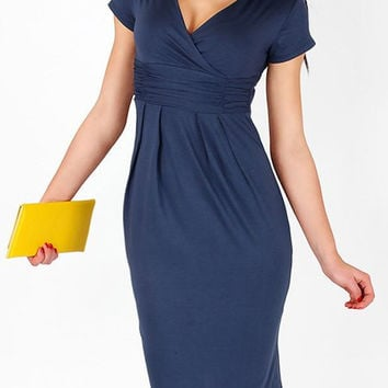 Blue Short Sleeve V-Neck Midi Dress