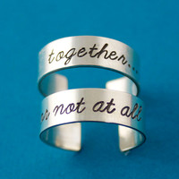Doctor Who Rings Together Or Not At All - Pair of Adjustable His and Hers Aluminum Rings - your choice of font