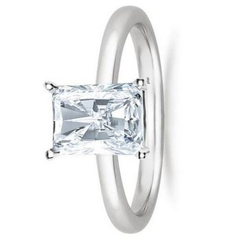 .1/2 - 2 Carat GIA Certified Platinum Solitaire Radiant Cut Diamond Engagement Ring (D-E Color, VVS1-VVS2 Clarity)