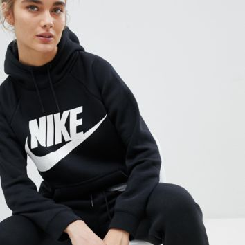 Nike Rally Logo Hoodie In Black
