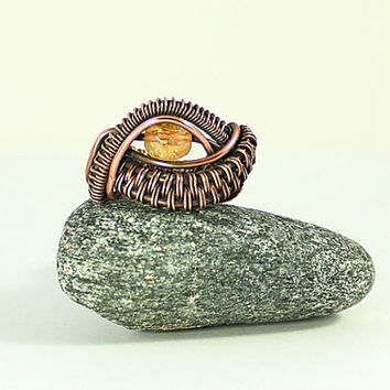 Citrine Ring, Copper Jewelry, Golden Eye Ring, Size 7, Dragon's Eye