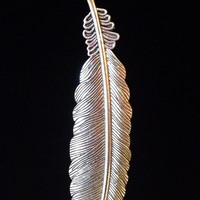 Large long silver feather necklace