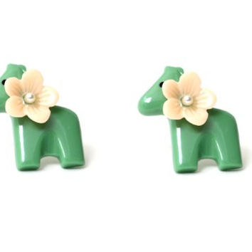 Donkey Earrings Green Floral Mexican Pinata EC34 Horse Animal Posts Statement Fashion Jewelry